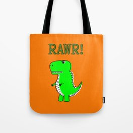 Cute And Angry Cartoon T-Rex Tote Bag