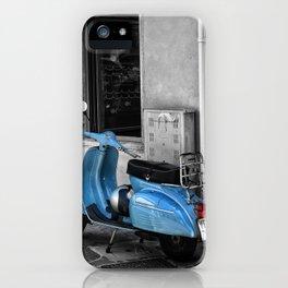 Blue Vespa in Venice Black and White Color Splash Photography iPhone Case