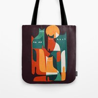 family Tote Bags featuring Cat Family by Picomodi