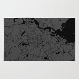 Amsterdam Gray on Black Street Map Rug