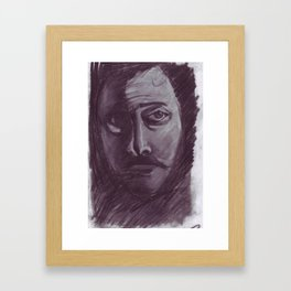 Shadowed man in charcoal Framed Art Print