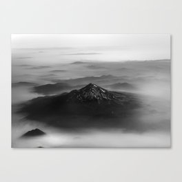The West is Burning - Mt Shasta Black and White Canvas Print