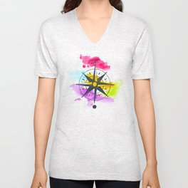 Watercolor Compass Unisex V-Neck