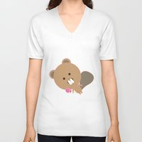 beaver V-neck T-shirts featuring Kawaii Beaver by SweetToothStudio