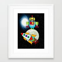 walk the moon Framed Art Prints featuring Moon Walk Children's Art by BohemianBound