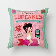Mimibun's Cupcakes Retro Poster Throw Pillow