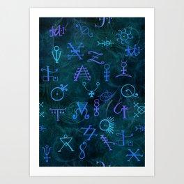 Alchemy Symbols Pattern Art Print