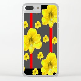 YELLOW AMARYLLIS BLACK-RED DECO ART Clear iPhone Case
