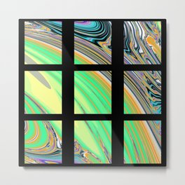 Black Window with Colorful Tiles Metal Print