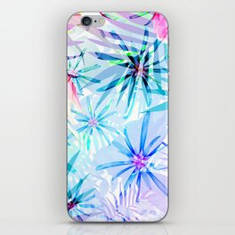 Flashy Colorful Tropical Flowers Design iPhone Skin