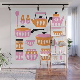 My Midcentury Modern Kitchen In Pink And Tangerine Wall Mural