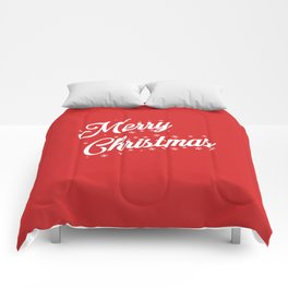Merry Christmas with Snow Flakes on Red Background Comforters