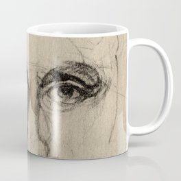 Charcoal Gesture Eyes Drawing Sketch of Expressive Spontaneous Portrait Face Coffee Mug