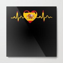 Espanya Heart Heartbeat ECG Pulse Spain Metal Print