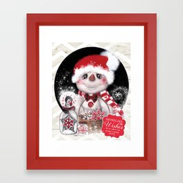 Snowflake Wishes Snowman Framed Art Print