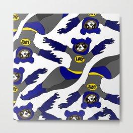 Flying LOVE Bear Bat Metal Print
