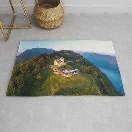 Mount Bre, Lugano, Switzerland Alpine Mountaintop Resort Restaurant lakeside photograph Rug