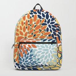 Modern, Floral Prints, Orange, Blue, Yellow Backpack