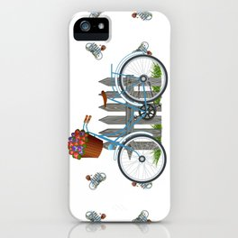 Vintage bicycle with basket full of violets flowers iPhone Case
