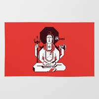 shiva Area & Throw Rugs featuring Shiva by Tshirtbaba