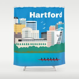 Hartford, Connecticut - Skyline Illustration by Loose Petals Shower Curtain