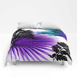 PALM AND FERN PURPLE BLACK AND WHITE TROPICAL PATTERN Comforters