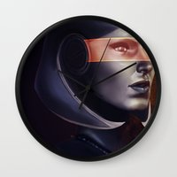 mass effect Wall Clocks featuring Mass Effect: EDI by Ruthie Hammerschlag