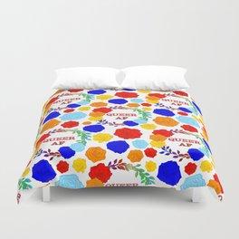 QUEER AF - A Rainbow Floral Pattern Duvet Cover