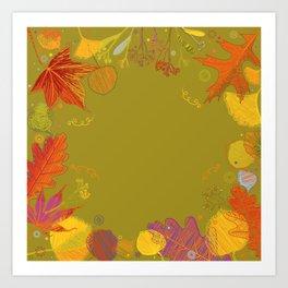 Autumn Doodle Leaves Art Print