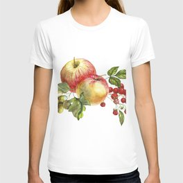 Fruit on a white background. Apples, red currants, grapes. T-shirt