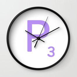 Scrabble Monogram P Letter Art Wall Clock