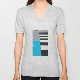 Blue Crossing Graphic Illustration of an Urban Street Photography in Japan Unisex V-Neck