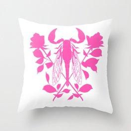 Pink locust of locust Tattoo w roses Throw Pillow