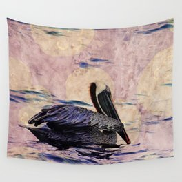 twilight pelican Wall Tapestry