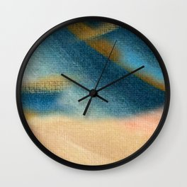 Wind and Rain - acrylic abstract with pink, blue, and brown Wall Clock