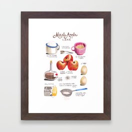 illustrated recipes: apple maple cake Framed Art Print