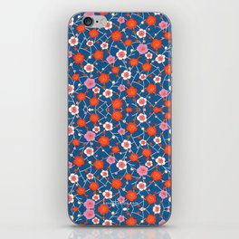 Red and Blue floral Pattern iPhone Skin
