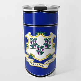 Connecticut Flag In An Interstate Sign Travel Mug