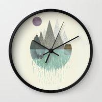waterfall Wall Clocks featuring Waterfall by FLATOWL