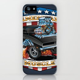 American Muscle Patriotic Classic Muscle Car Cartoon Illustration iPhone Case
