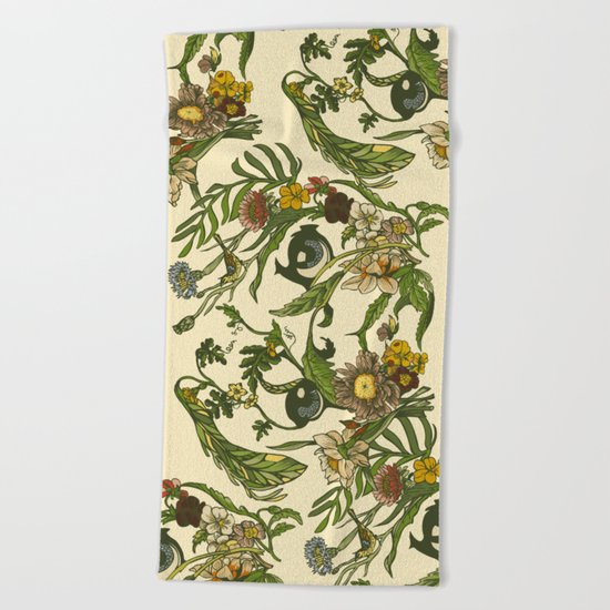Botanical Pug Beach Towel