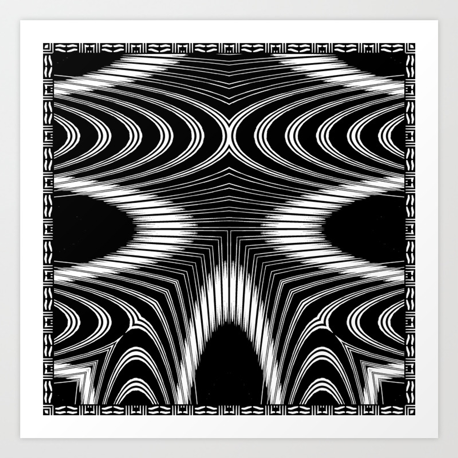 Geometric black and white skeleton african inspired pattern art print by patriciannek society6
