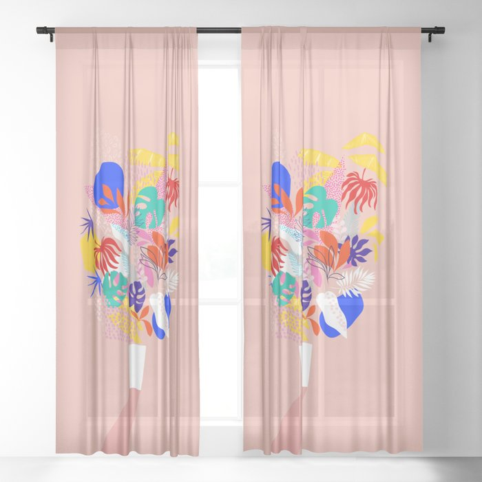 Keep Growing - Tropical plant on peach Sheer Curtain