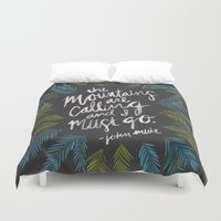 the mountains are calling Duvet Covers featuring Mountains Calling – Charcoal by Cat Coquillette