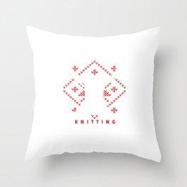Eat Sleep Knitting Repeat Knit Work Needlework Needlecraft Handycraft Gift Throw Pillow
