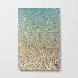 Aqua Blue Ocean and Golden Pebbles Metal Print