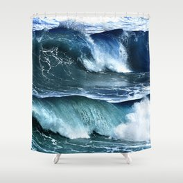 Deep Blue Waves Shower Curtain