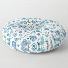 Scandi Folk Birds - blue & white Floor Pillow