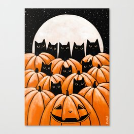 Black Cats in the Pumpkin Patch Canvas Print