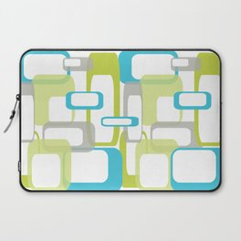 Mid-Century Modern Rectangle Design Blue Green and Gray Laptop Sleeve
